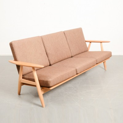 L1288 Wegner cigar 3 seater sofa oak extend