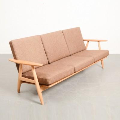 L1288 Wegner cigar 3 seater sofa oak extend